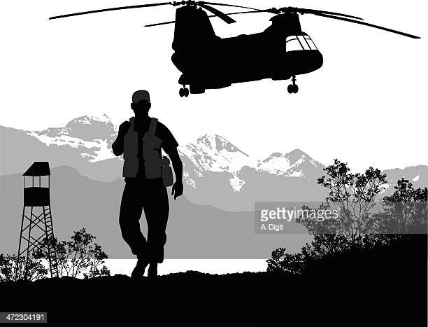 army - lookout tower stock illustrations