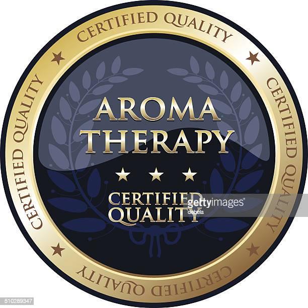 aromatherapy gold emblem - aromatherapy stock illustrations, clip art, cartoons, & icons