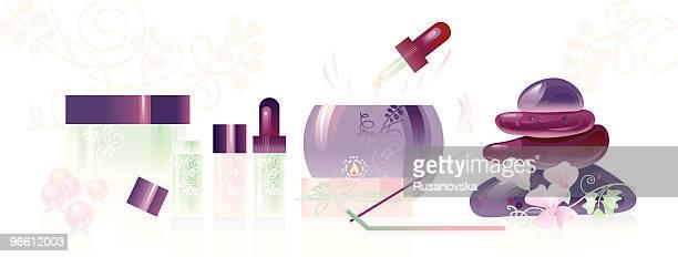 spa aromatherapy set. - aromatherapy stock illustrations, clip art, cartoons, & icons