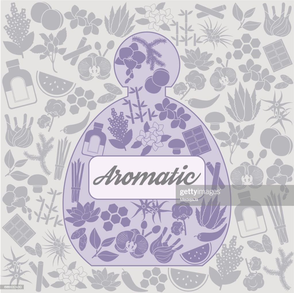 Aromatic herbs and plants background design