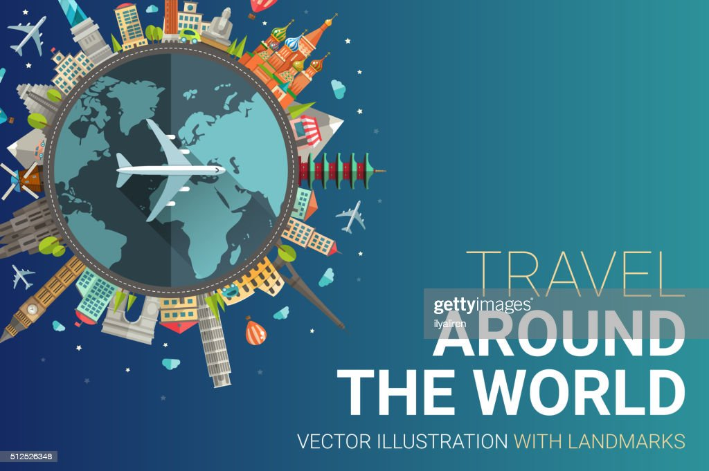 Around the world flat design postcard illustration