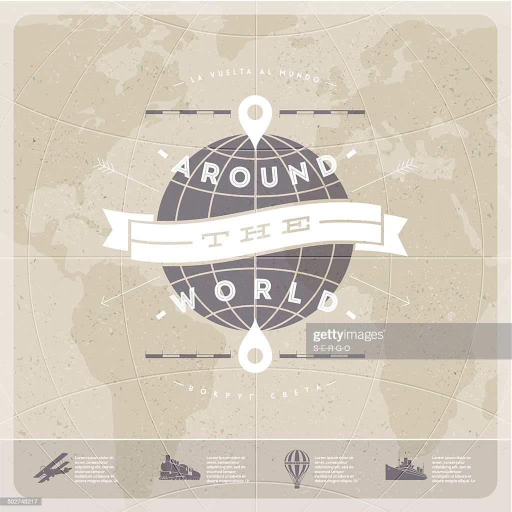 Around the world - travel  vintage type design