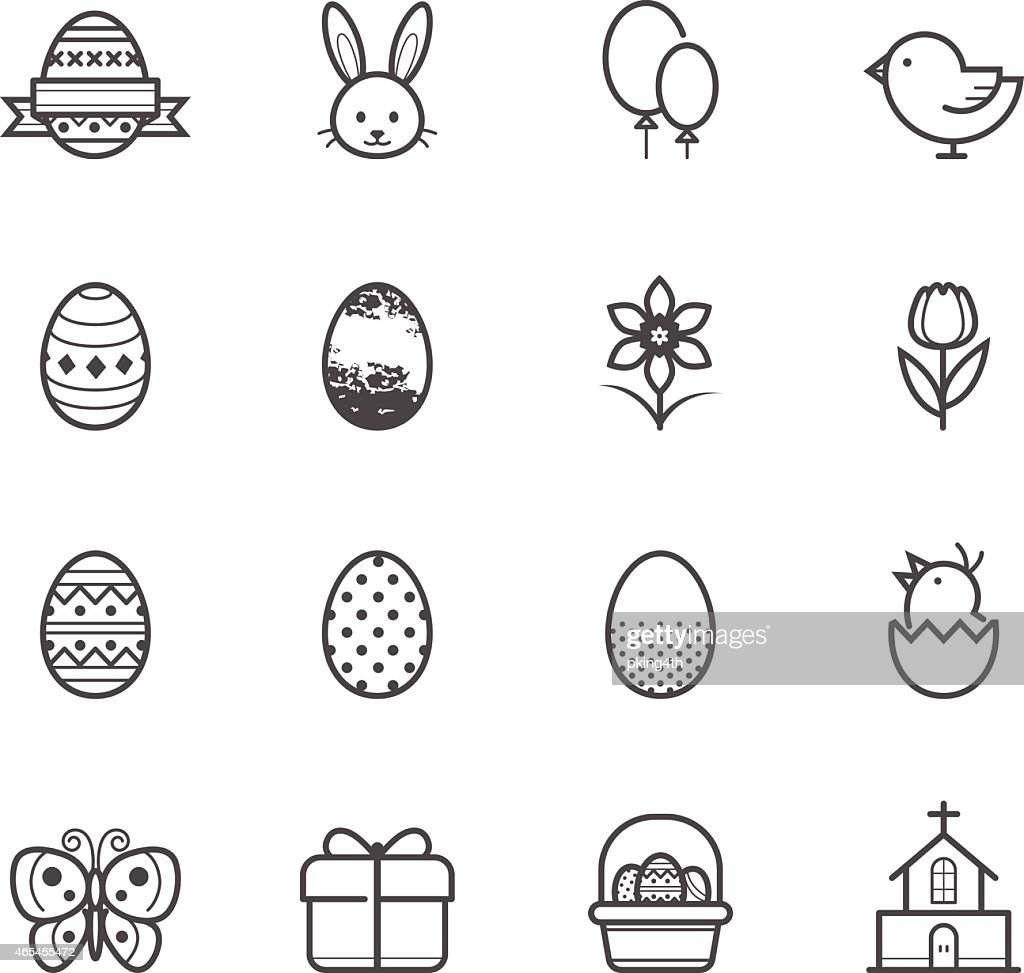 Arrangement of black-and-white Easter related icons