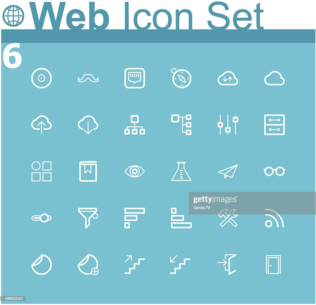 Arrangement of common blue and white web icons