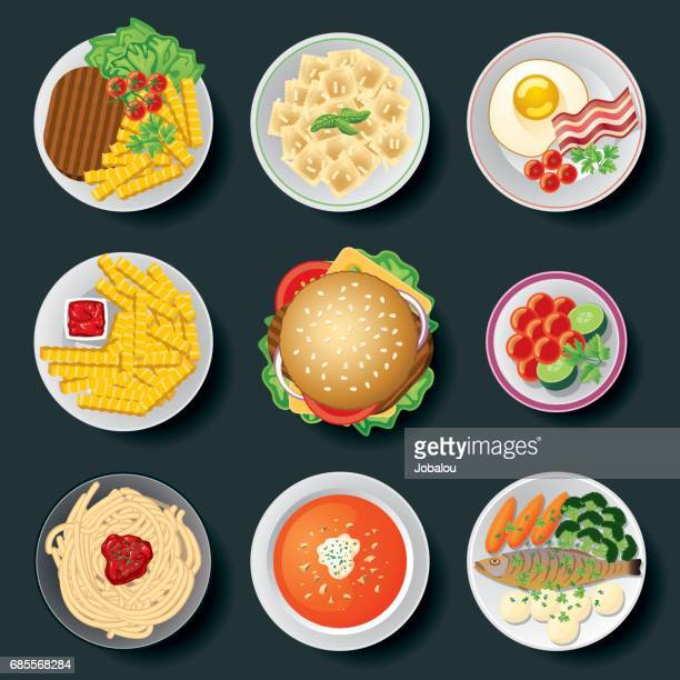 arrangement of cooked and salted dishes - dipping stock illustrations, clip art, cartoons, & icons