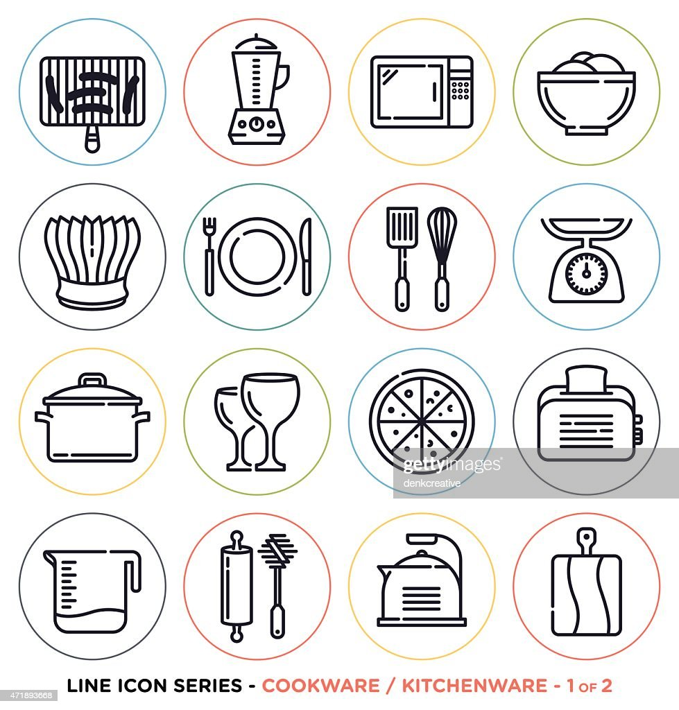 Arrangement of kitchenware and cookware icons
