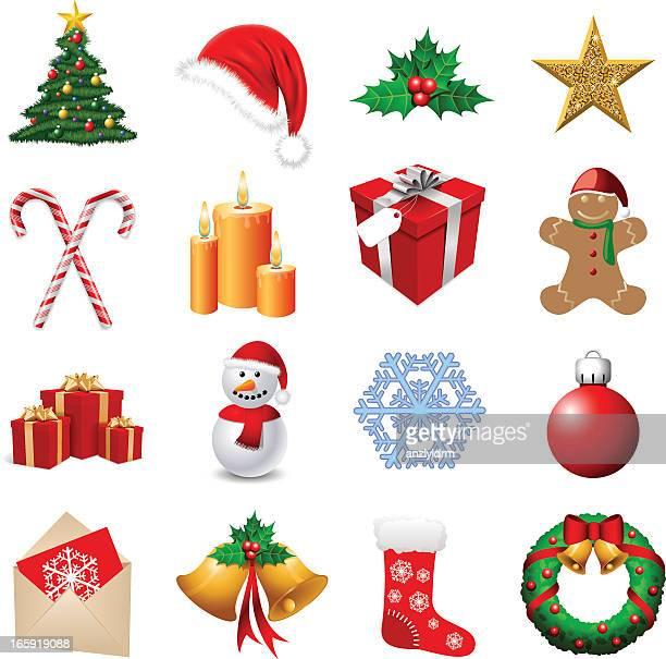 arrangement of sixteen christmas themed emoji - chinese lantern lily stock illustrations