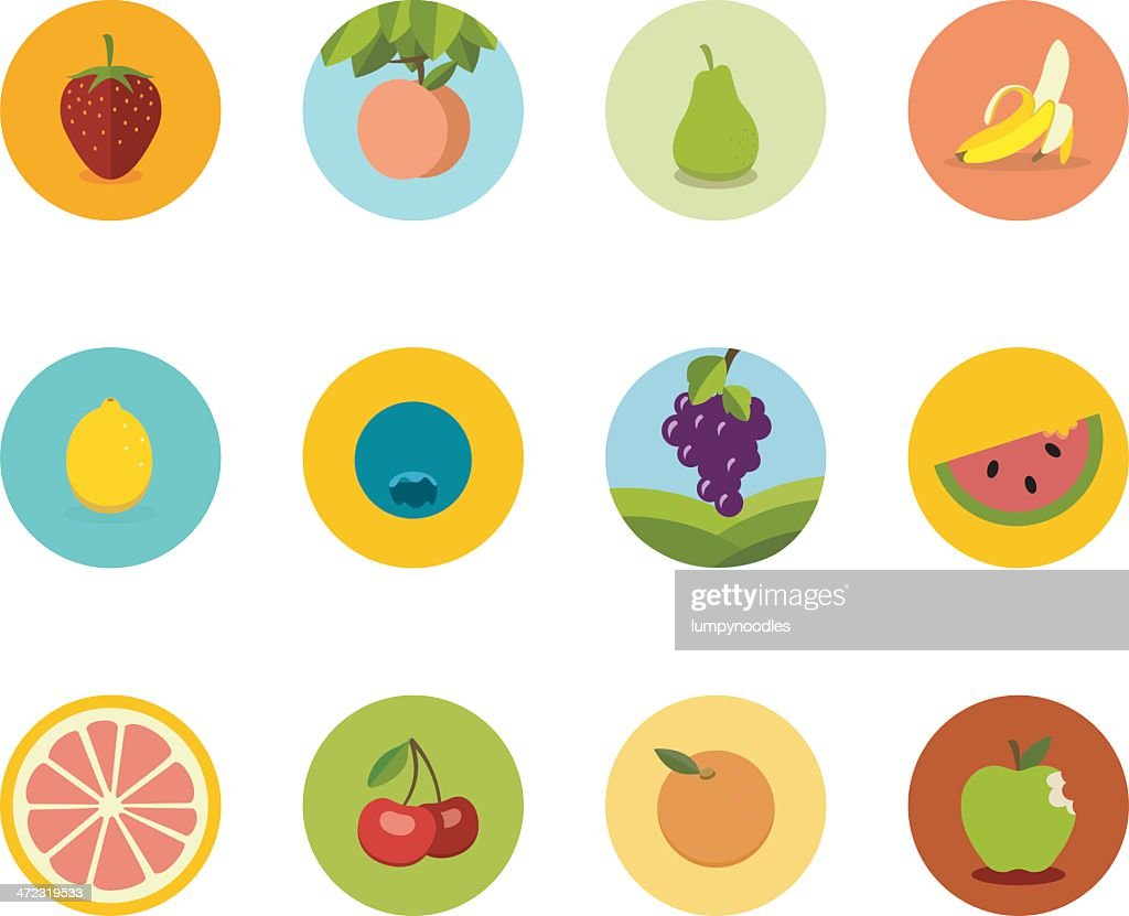 Array of flat fruit icons in circles on a white background