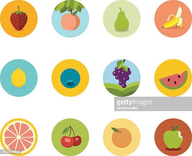 array of flat fruit icons in circles on a white background - antioxidant stock illustrations, clip art, cartoons, & icons