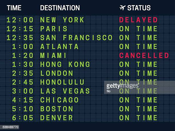 arrival departure air travel board - atlanta stock illustrations, clip art, cartoons, & icons