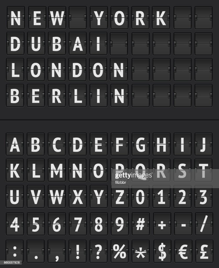 Arrival Departure Board and alphabet