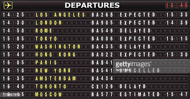 arrival departure board - projection screen stock illustrations