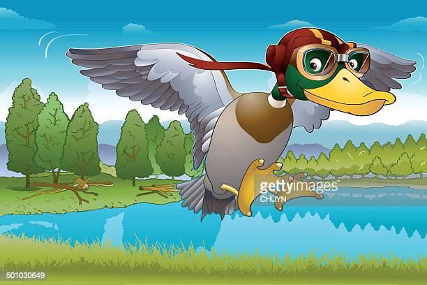 bildbanksillustrationer, clip art samt tecknat material och ikoner med arriving home - duck