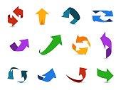 Arrow 3d set. Colorful arrows symbols economy info circular path interface up down internet direction cursor icons