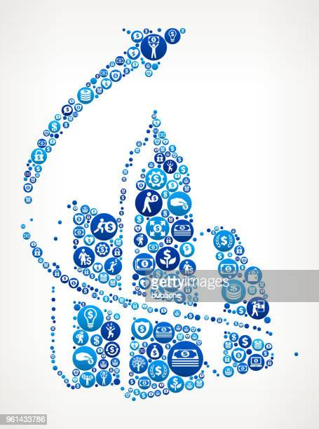 Arrow and Set of Building Money Blue Icon Pattern Background