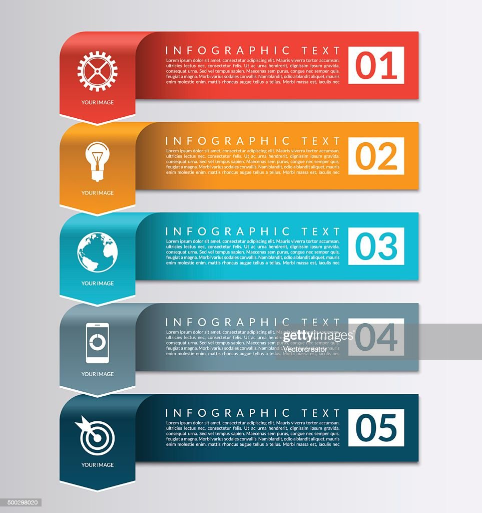 Arrow banner for business infographics. 5 steps design template