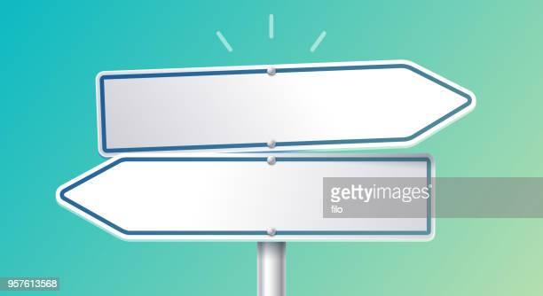 ilustrações, clipart, desenhos animados e ícones de direção da seta escolha opções de sinal - encruzilhada