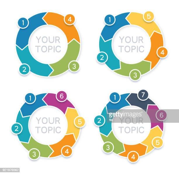 ilustrações, clipart, desenhos animados e ícones de seta círculo infográficos - número 6
