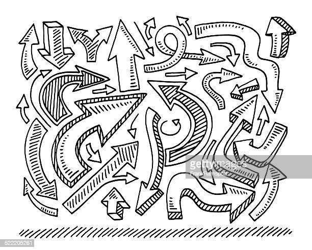 arrow collection directions drawing - chaos stock illustrations