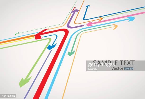 arrow cross - road intersection stock illustrations