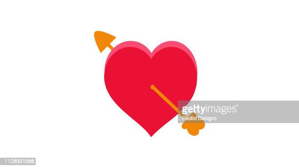 arrow cupid on heart icon - cupidon stock illustrations