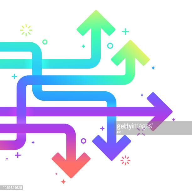 arrow direction horizontal pointing abstract - colors of rainbow in order stock illustrations