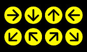 arrow direction sign set, yellow circles on black background