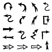 Arrow doodle scribble set. Hand drawn sign collection