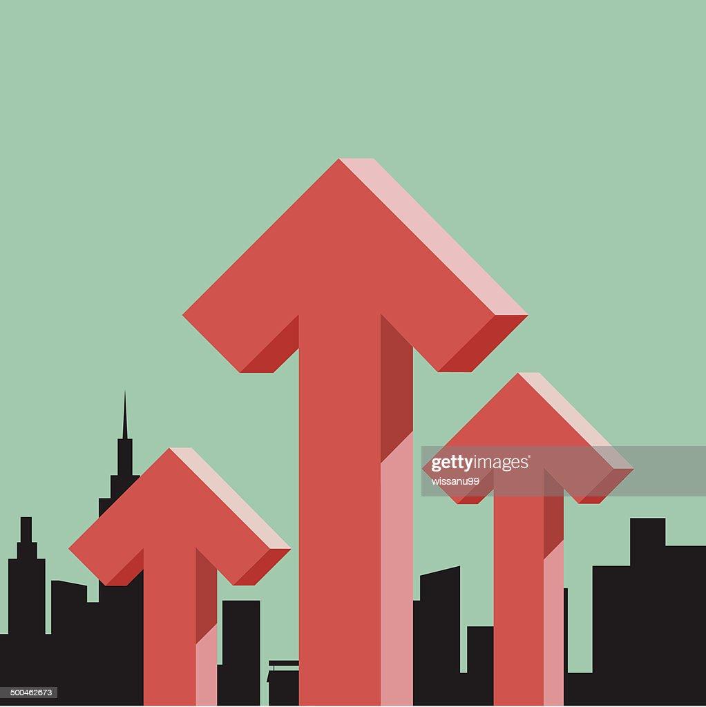 Arrow graph stock raise up concept
