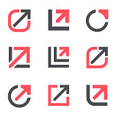 Arrow growth  design template. Vector icon set