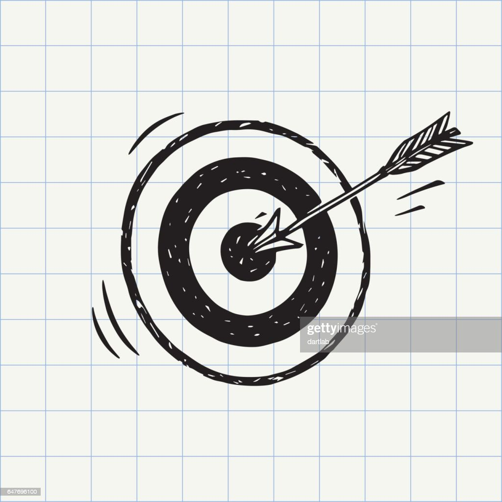 Arrow hit in archery target (goal symbol) icon sketch