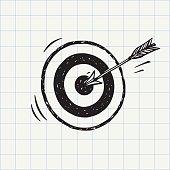 Arrow hit in archery target (goal symbol) icon sketch