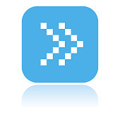 Arrow icon. Dotted double icon or Fast forward square blue button