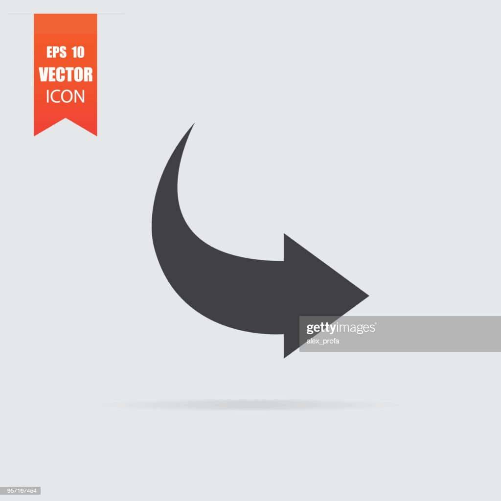 Arrow icon in flat style isolated on grey background.