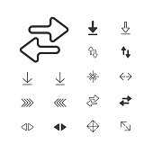 Arrow Icon. isolated perfect pixel with flat style in white background for UI, app, web site, logo. Vector illustration.