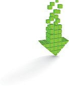 Arrow icon made of cubes
