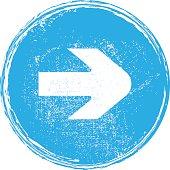 arrow icon on a circular button vector element grunge