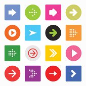 Arrow icon set circle rounded square button simple contemporary style