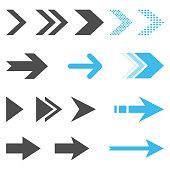 Arrow Icon Set Flat Design on White Background.