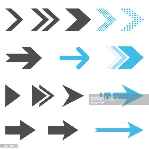 ilustrações, clipart, desenhos animados e ícones de ícone de seta definir design plano em fundo branco. - sinal de seta