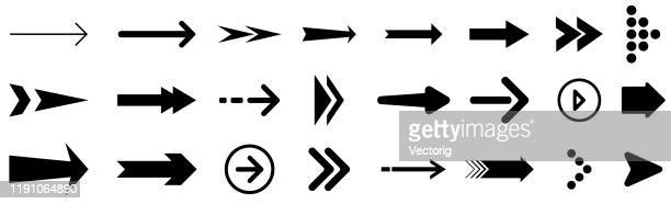 arrow icon set isolated on white background - chevron road sign stock illustrations