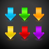 3D Arrow Icon Set. Vector illustration with colorful arrows
