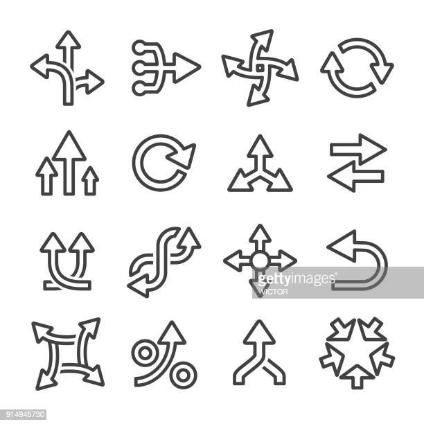 arrow icons set - line series - leaving stock illustrations
