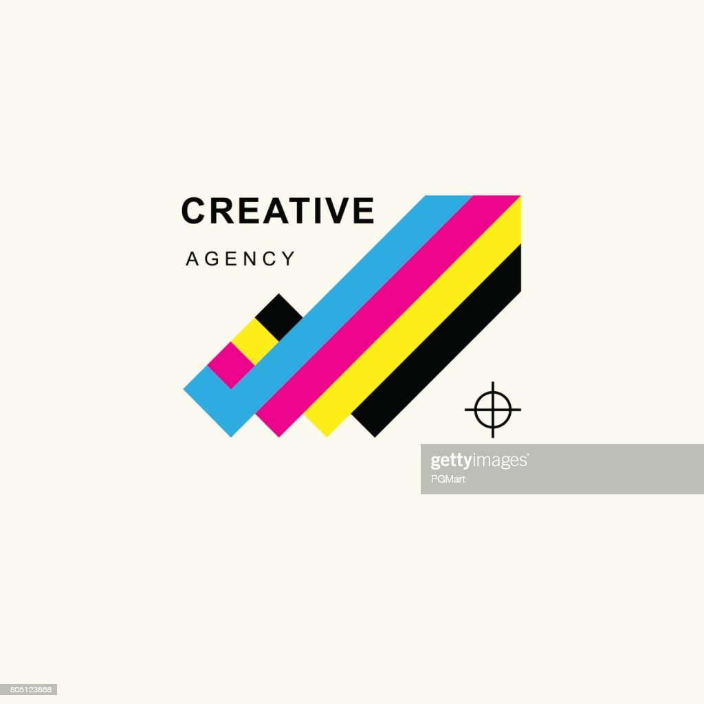 Arrow in colors CMYK upward tending . Trendy minimalistic template design for symbols, emblems, symbols, Icon,