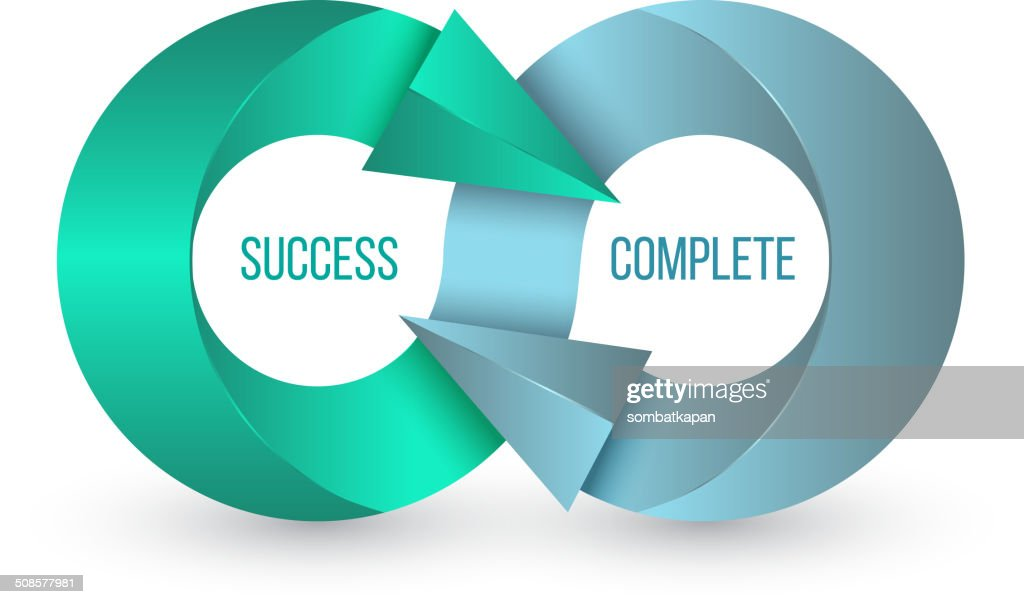 Pfeil infinity business Vektor logo design-Konzept Erfolg abgeschlossen. : Vektorgrafik