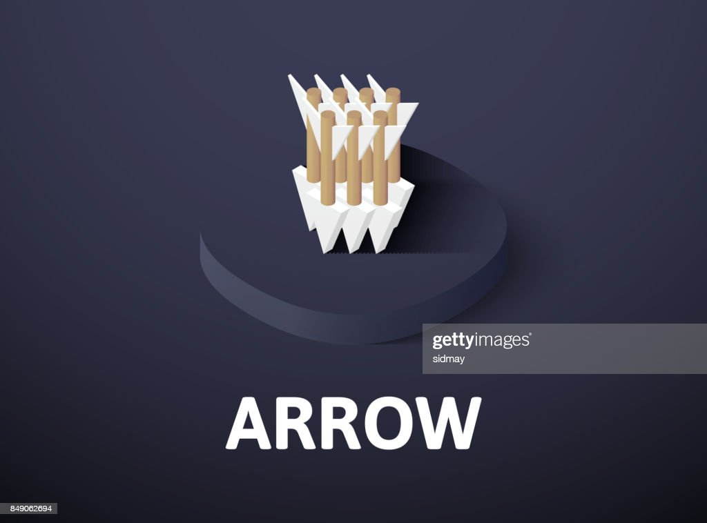 Arrow isometric icon, isolated on color background
