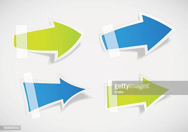 arrow label set - post it stock illustrations, clip art, cartoons, & icons