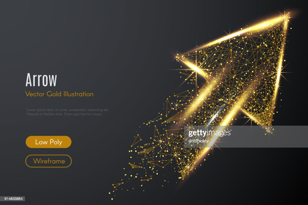 arrow low poly gold