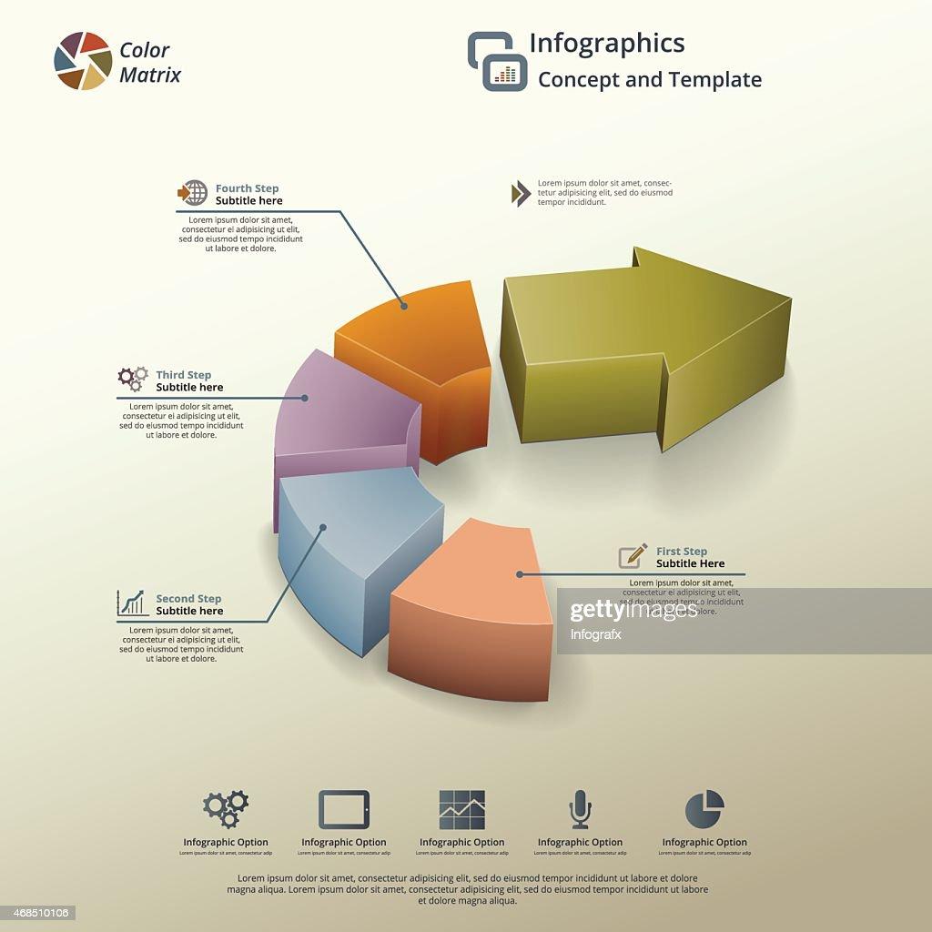Arrow Pie Chart Infographic Background Concept