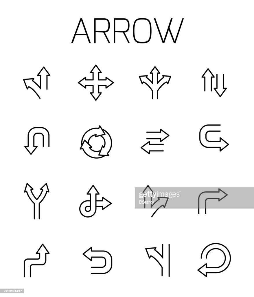 Arrow related vector icon set.